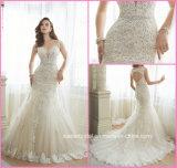 A-Line vestido de noiva rendas de pérolas oco vestido de casamento de volta Y11643