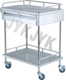 Acabamento em aço inoxidável & Medicine Alterar carrinho com duas gavetas