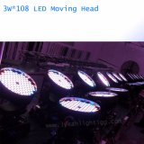 LEIDENE Lichte 108PCS*3W RGBW die HoofdWas beweegt