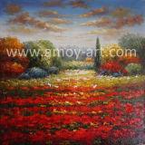 ホーム装飾のためのハンドメイドの赤い花フィールドキャンバスの絵画
