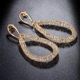 Form Brautc$gold-farbe Höhlung-ovales Absinken-Kristallschmucksache-Ohrringe