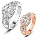 De bruids Trouwring van het Kristal van CZ van de Kleur van Juwelen Zilveren