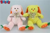"""9.5 """" 아기 선물 장난감 황색 자수 당근 발 Bos1156를 가진 견면 벨벳에 의하여 채워지는 토끼 동물"""