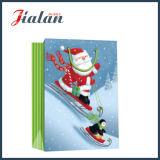 Papel de arte laminado brillante Bolsa de papel de regalo de compras de Navidad padre