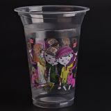 فنجان بلاستيكيّة واضحة مع أغطية مسطّحة