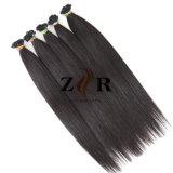 Double épais de couleur sombre tiré les cheveux européenne Prebonded hair extension