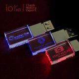 Azionamento di vetro 8GB dell'istantaneo del USB dell'a cristallo di marchio dell'OEM con l'indicatore luminoso del LED