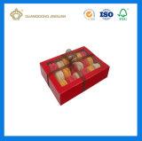Rectángulo de encargo de Macarons de la venta caliente de lujo con la ventana del PVC (caja de embalaje de la torta de la taza)