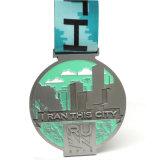 Подгонянная серебряная медаль мягкой эмали логоса тесемки овальная с талрепами