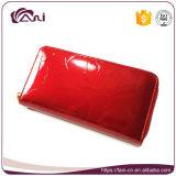 Новые Shinning кожаный женщины могущественный бумажник, кожа неподдельная, листья бумажника застежки -молнии напечатали бумажник