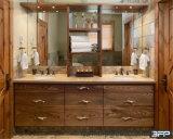 Dissipador dobro de Undermount do gabinete de banheiro com prateleira do Woodgrain