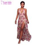 La mode nouvelle fente d'impression Mesdames longues robes (L51423)