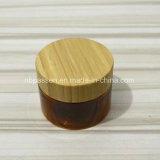 Frasco plástico ambarino de empacotamento do animal de estimação do cosmético com tampa de bambu (PPC-BS-055)