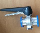 SS304 SS316L de acero inoxidable sanitario pinza triple válvula de mariposa