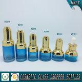 出版物ポンプ点滴器が付いている20ml 30ml 50mlの青いガラスビン