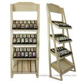 Cremagliera di visualizzazione di legno di immagazzinamento in la bottiglia del vino rosso della birra del whisky