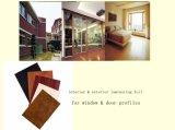 Hoja interior y exterior del grano de madera para el perfil de la ventana del travesaño de la ventana