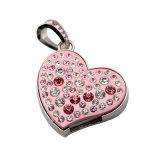 Diamante cristalino del corazón de la joyería del metal del USB de memoria Flash Drive U