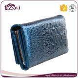 Портмоне оптового бумажника кожи крокодиловой кожи бумажника женщин способа голубого длиннее для повелительницы