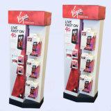 Стеллаж для выставки товаров пола картона сотового телефона вспомогательный, стойка пола картона