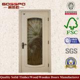 Porta branca do banheiro da pintura do projeto do vidro geado (GSP3-048)