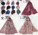 Sciarpa del fiore del merletto della signora Elegant Jacquard Transparent Viscose