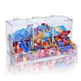 Boîte de présentation acrylique de trois rangées pour le chocolat, cadre acrylique de PDQ