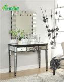 3 cajones Sala de estar de cristal antiguo con espejo mesa consola