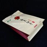 La parte inferior plana se levanta la bolsa de plástico vertical del bolso de café del bloqueo del cierre relámpago del papel de aluminio de la bolsa por fechas rojas
