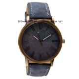 Reloj analogico antiguo del regalo del cuarzo de la promoción con la venda de cuero