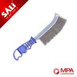Cepillo de alambre de acero inoxidable con mango de plástico para la industria