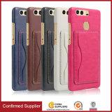 Многофункциональный случай задней стороны обложки кожи бумажника PU с держателем Flip карточки для Huawei P9