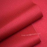 織り方粗かったPUの革、格子縞デザイン袋の革、装飾的な革