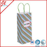 Green Gingham Printed Shoppers Impression personnalisée Luxury Retail Paper Bags
