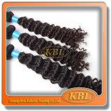 Trama Curly do cabelo do brasileiro de Remy do Virgin