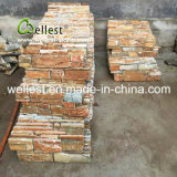 벽을%s 노란 목제 자연적인 겹쳐 쌓인 돌