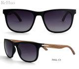 2018 Moda Quente Tr90 Combinação de madeira óculos de sol, lente polarizada
