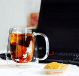 cuvette en verre de cuvette de lait de mur de double en verre de Borosilicate 380ml