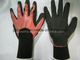 Нейлон и связанная Spandex перчатка работы с 3/4 черных окунать нитрила Sandy (N1572)
