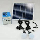 Sistema de energia solar elevado de Quallity 20W com as lâmpadas do diodo emissor de luz do metal