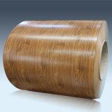 Bobine en acier de couleur en bois de matériau de construction de l'impression PPGI