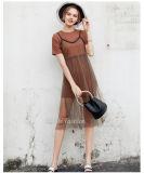 Long T-shirt de Tan avec la robe occasionnelle plissée par organza de jupe