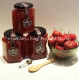Botella de almacenamiento de vidrio /Atasco Hexagonal hexagonal Jar Jar de miel de vidrio con tapa de aluminio