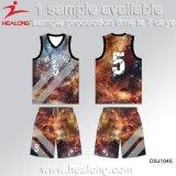 El último baloncesto Jersey del cuello del chaleco de la sublimación de la ropa de deportes del diseño de Healong