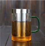 Pyrex Glas-Tee-Cup-Edelstahl-Infusion-Büro-Cup mit farbigem Glasur-Griff