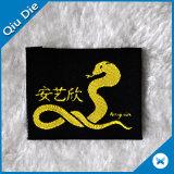 Exportando a etiqueta tecida tela do Tag de matéria têxtil do vestuário de 500 MOQ para o acessório do vestuário