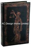 Negro/bronce antiguo relieve Vintage de cuero de PU/almacenamiento de madera MDF cuadro Libro