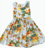Flower Children Girl Dress in Kids Clothes (SQD-113)