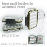 Caixa de pesca plástica impermeável lateral dobro pequena super da mosca