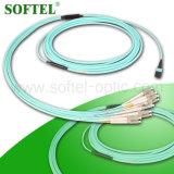 Cordon de connexion duplex du mode unitaire Om3 MPO LC de faisceaux de la fibre optique 12